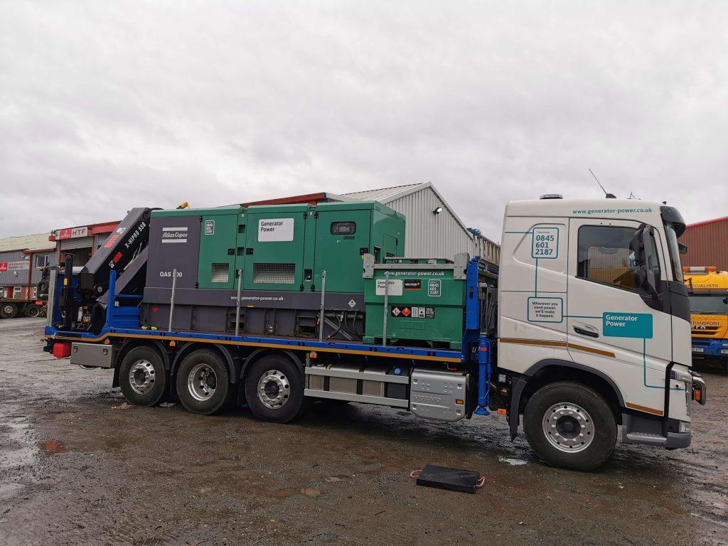 Generator power rearmount tridem hiab vehicle